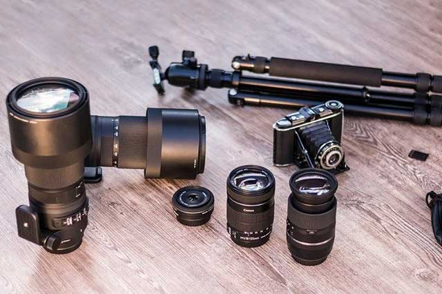 Photography equipment on the floor in a photo studio.