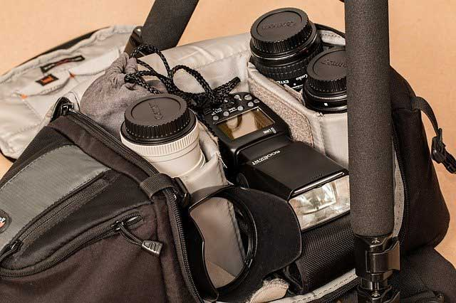 A bag full of photography equipment.
