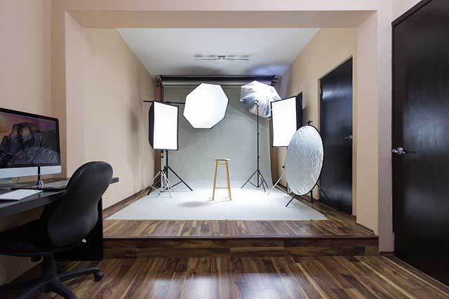 A photography studio with a minimal interior design.