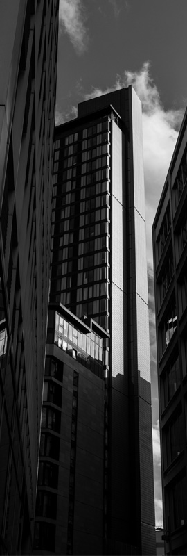 Black and white photo of a skyscraper