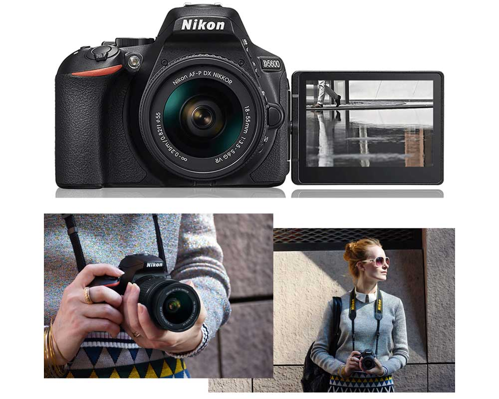 Front shot of the Nikon D5600 with a woman wearing the camera around her neck.