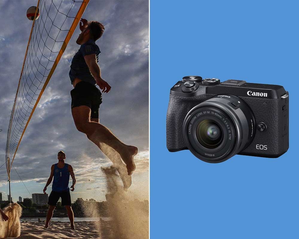 People are playing volleyball next to an image with the Canon M6 Mark II.