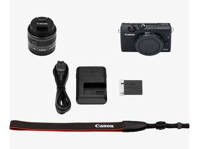 Box contents for the Canon EOS M200