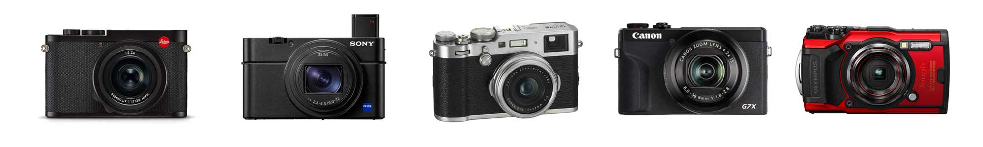Compact cameras from Canon, Olympus, Sony, Leica and Fujifilm.