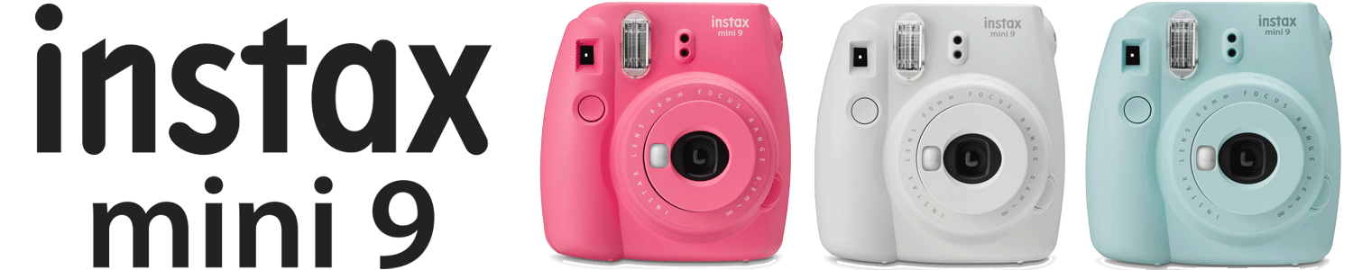 Instax Mini 9 in white, pink and blue with logo