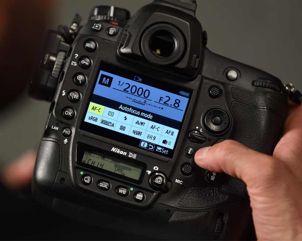 Back screen and buttons of the Nikon D6