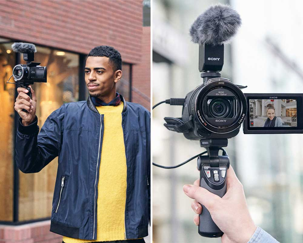 Sony AX43 being used as a vlogging camera.