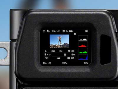Close up of the Sony A6000's viewfinder